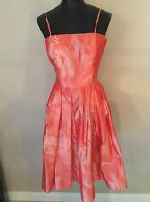 Armani Collezioni Dress Spaghetti Strap Orange Coral Textured 100% Silk  Sz 12