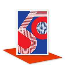 50th Happy Birthday Card for her for him red white blue patriotic typography