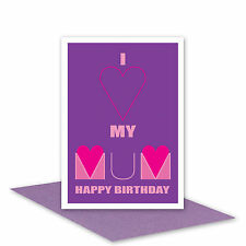 Mum Happy Birthday card for MUM from daughter son I Love my MUM card message