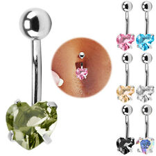 Rhinestone Crystal Heart Shape Navel Belly Bar Button Ring Body Piercing Jewelry