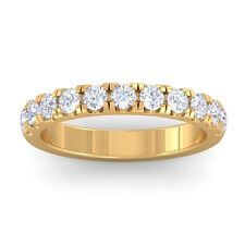 0.55ct GH SI Natural Diamonds Women Half Eternity Wedding Band 10K Yellow Gold