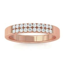 0.19ct GH SI Natural Round Diamonds Womens Classic Wedding Band 18K Rose Gold