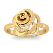 0.09ct GH SI Fine Diamonds Rose Flower Fashion Daily Wear Ring 18K Yellow Gold
