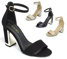 WOMENS HIGH BLOCK HEEL PEEP TOE SANDAL PARTY CASUAL LADIES ANKLE STRAP SHOES 3-8