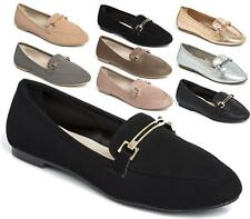 LADIES WOMENS FLAT DOLLY SHOES GOLD WORK OFFICE SCHOOL PUMPS LOAFERS BALLET SIZE