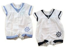 Baby Nautical Sailor Traditional Short Romper Outfit Blue & White by Baby C