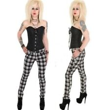 BLACK & WHITE TARTAN SKINNY FIT JEANS by HELL BUNNY ALTERNATIVE GOTH EMO PUNK