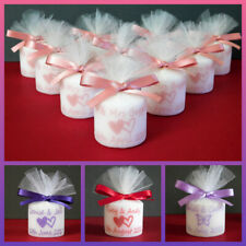 Personalised Votive Candle Wedding Favours Any Colour Satin Ribbon Set of 100