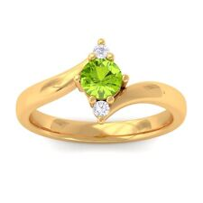 100% Natural Green Peridot Round Diamonds Three Stone Gemstone Ring 18K Gold