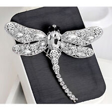 Ladies Dragonfly Crystal Rhinestone Party Scarf Collar Pin Brooch Jewelry Gift