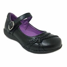 New Girls School Rider Mary Jane Black Flat Shoes Decorative Bow & Buckle Strap