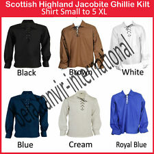 Scottish Highland Jacobite Jacobean Ghillie Shirt All Color Shipping by DHL