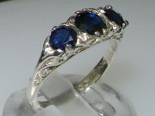 VINTAGE style Solid 10ct White Gold Natural Sapphire Trilogy Ring