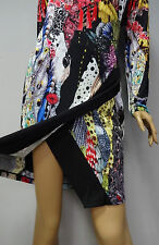 """FINAL SALE"" Roberto Cavalli multi color floral print long sleeve dress sz  M L"