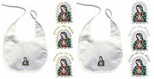Baby Christening Baptism White Bibs Wipe Gold Silver Embroidery Guadalupe Maria