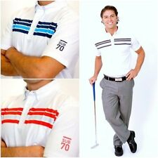 New Sub70 Golf Victor Stripe Polo T Shirt Top White Tour Performance Free P&P