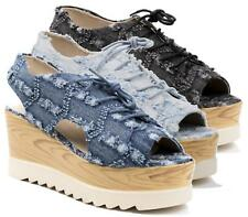 WOMANS LACE UP DENIM WOODEN WEDGE PLATFORMS CHUNKY SANDALS SLINGBACK SHOES