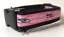 Seattle Seahawks Pink Dog Collar with Leash Option, Handmade, Washable, NFL