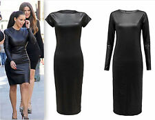 New Ladies Wet Look Midi Womens Faux Leather Stretch Bodycon Dress UK 8-26