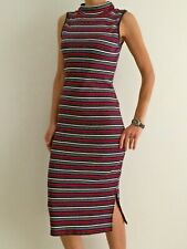 Women's Striped Bodycon High Neck Midi Party Casual Dress Size 8-10-12-14-16-18