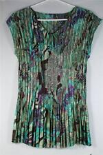 Pleated Top-Cap Sleeves Green/Purple/Teal/Cream #21 B63 100% Polyester NEW!