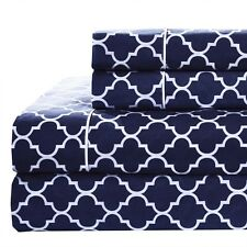 Printed Meridian 100% Cotton Percale Woven 250TC Sheets (Navy & White, 6-Sizes)