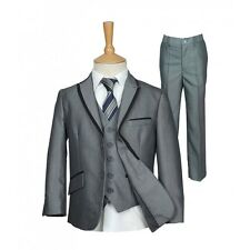 Boys Grey Suit Boys Piping Grey Suits Wedding Prom Pageboy Suit