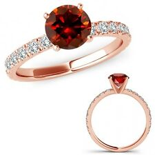 1.5 Carat Red Diamond Solitaire Eternity Wedding Promise Ring 14K Rose Gold