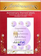 Personalised Anniversary Labels/Stickers, Choice of 8 Sizes and Shapes