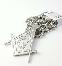 New Design HQ Stainless Steel Free Mason  Pendant CZ with Rope Chain Silver Tone