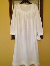 Eileen West white LS 100% cotton pintuck & lace long pocket nightgown Medium $78