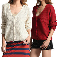 TheMogan Vintage Casual V-neck Button Down Soft Waffle Knit Sweater Cardigan