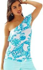New Lilly Pulitzer NEVEAH ONE SHOULDER TOP Resort White Barefoot Princess S M L
