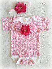 Damask Baby Infant Onesie, romper, headband set Flowers, rhinestones 0-12 months