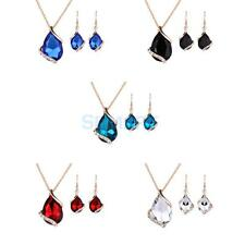 Women Jewelry Set Crystal Rhinestone Gold Plated Chain Necklace Earring Set