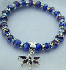 6 x 8mm BLUE AB CRYSTAL GLASS BEADED SILVER STRETCH CHARM BRACELETS MIXED SIZES