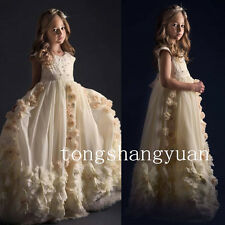Applique Flower Girl Dresses Handmade Flowers Birthday Formal Prom Gowns Pageant