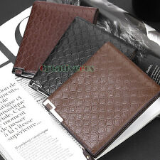 Men's PU Leather Zipper Bifold Wallet ID Cards Holder Slim Coin Pocket Purse New
