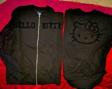 Sanrio Hello Kitty zip up front black long lace sleeves shirt