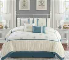 Deluxe Embroidered Ivory Blue Pleat Hotel Comforter 100% Cotton Sheet 11 pcs Set