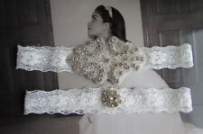 IVORY Wedding Garter, Bridal Garter, Garter Set - Crystal Rhinestone applique