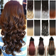 Thick Human Clip In Hair Extensions One Piece Long Curly Wavy Brown Blonde F2N