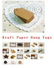 100pcs BLANK Brown Kraft Paper Hang Tags w/String Punch Label Price Gift EF