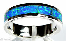 Blue Fire Opal Inlay 925 Sterling Silver Eternity Band Men's Woman Ring Sz 6-7
