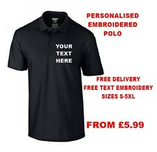 Personalised Embroidered Polo Shirt Workwear Customised Polo Colours Sizes S-5XL