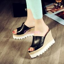 New Womens High Platform Wedge Peep Toe Leather Mule Sandals Slides Casual Shoes