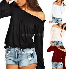 Womens Off Shoulder Blouse Ladies Solid Long Sleeve T-Shirt Casual Tops A8J8