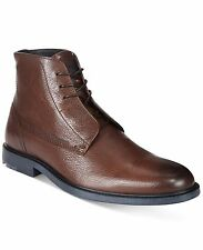 Hugo Boss Orange Label Grained Leather Ankle Boots Cultroot Dark Brown