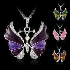 Charm Butterfly Crystal Rhinestone Pendant Necklace Sweater Chain Jewelry Party
