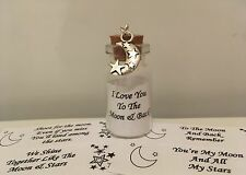 I LOVE YOU TO THE MOON AND BACK CHARM MOON AND STARS DIAMANTE CARD GIFT KEEPSAKE